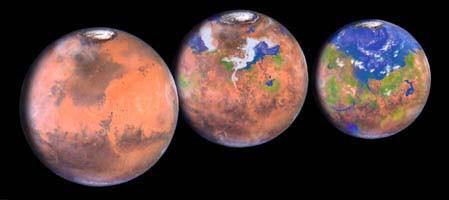 Artistic impression of Mars terraforming - GALAXYEXPLORERS.ORG